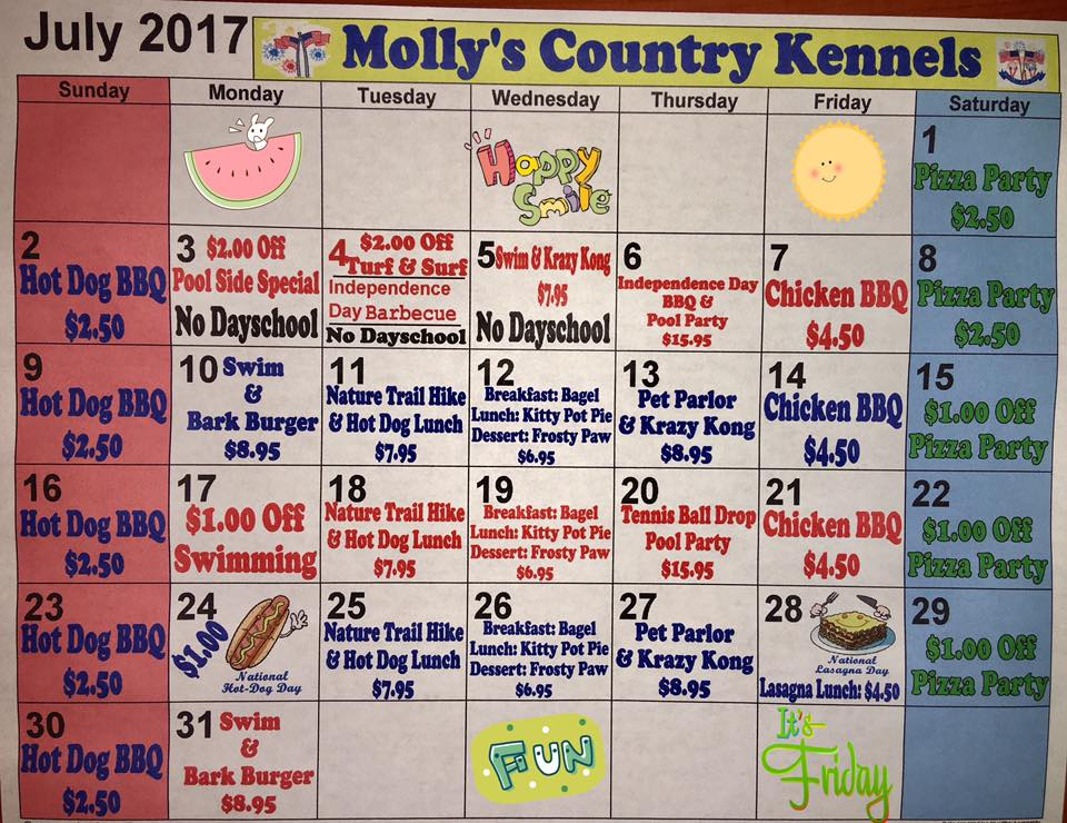 Molly's Country Kennels, July Calendar, Dog Boarding, Pet Boarding, Molly's Country Day School